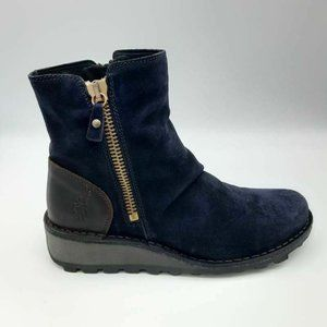 FLY London Ankle Booties Navy Blue Brown 39 New